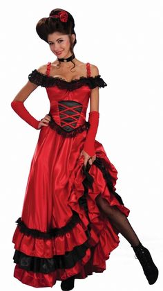 This 4 piece red and black saloon girl costume is just what you need this…