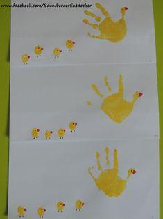 Handabdrücke Hühnerfamilie