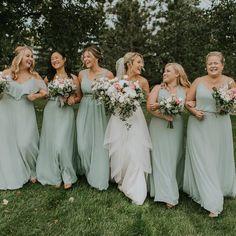Olive Green Bridesmaid Dresses, Mismatched Bridesmaid Dresses, Wedding Bridesmaid Dresses, Bridesmaids, Tan Wedding, Sage Green Wedding, Olive Wedding, Wedding Ideas, Spring Wedding