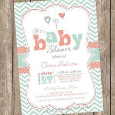 Coral y menta bebé ducha invitación invitación por ModernBeautiful