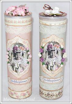 Pringles Cans. :) Mariannes papirverden.: Strikkepinnebokser - Pion Design
