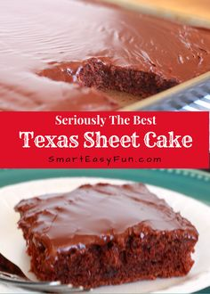 THE BEST TEXAS SHEET CAKE If you love chocolate, and who doesn't? You are going to love this amazing Texas Sheet Cake, it really is the best one I have tried. Not only does it taste the best, but it is easy to make and it feeds a lot of people. Vegetarian Chocolate, Chocolate Recipes, Chocolate Cake, Chocolate Lovers, Chocolate Frosting, Texas Chocolate Sheet Cake, Chocolate Chips, Mini Cakes, Cupcake Cakes