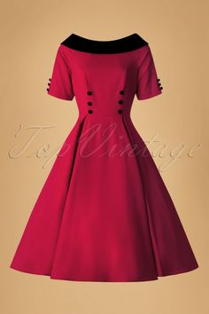 Collectif Clothing - 50s Carrera Swing Dress in Red