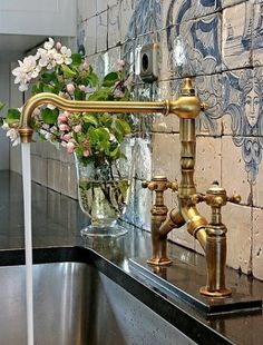 Stunning Brass Faucet And Tile Backsplash