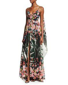B34AQ Elie Saab Sleeveless Floral-Print A-Line Gown, Palm Print