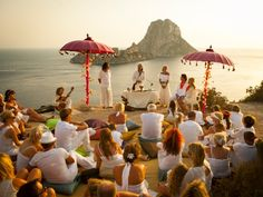 Wedding Ibiza Es Vedra. With those parasols. They represent the little bar in figuretas that we went to.