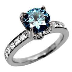 Blue Diamond Engagement Ring / Colored Diamond Engagement Rings