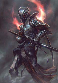 The New Samurai still use their ancestral Daisho in their fight against the demonic Scourge (RPG concept) Dark Fantasy, Medieval Fantasy, Fantasy Warrior, Armor Concept, Concept Art, Fantasy Kunst, Fantasy Art, Character Concept, Character Art