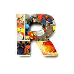 Superman Comic Book Door Sign Mounted Lettering by RoseberryStore Out of control cuteness! Superhero letters! #Fisherprice #Pinparty