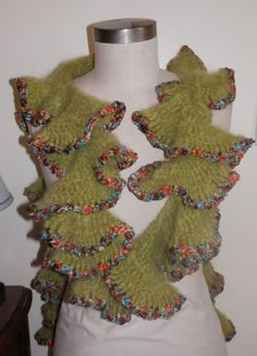 Hand Crocheted Mohair Olive Green Ruffle Scarf by mysticbazaar, $45.00
