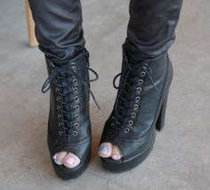 [Miamasvin] Open Toe Lace-up Platform Boots