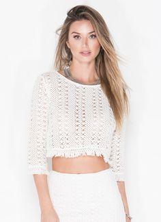 T-Shirt Dress With Fringing - White Glamorous Dc68OX