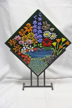 "Fused Glass Decor Art ""Flowers at the Lake"" with Stand"