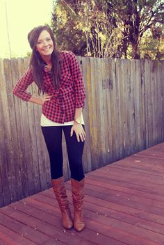 plaid with a longer white T-shirt layer <3