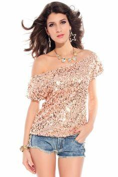 SPARKLING COCKTAIL: made2envy Off-shoulder Glistening Sequin Top-Gold-M: Clothing
