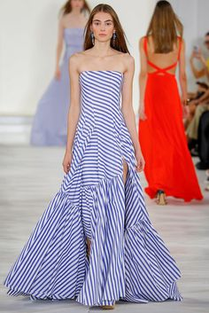 Ralph Lauren Spring/Summer 2016 big gown like skirts, especially below the knee. I love the stripes and how I can see on the bias.