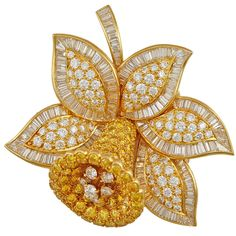 VAN CLEEF & ARPELS Superb Canary and White Diamond Bluebell Pin