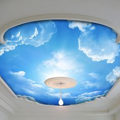 Blue Sky and white cloud Photo wallpaper Silk Wall Mural sitting room sofa background large murals Ceiling Under the blue sky Sky Ceiling, Ceiling Design, Ceiling Ideas, Mural Art, Wall Murals, Floor Murals, Tiny House Storage, Cloud Photos, Clear Blue Sky