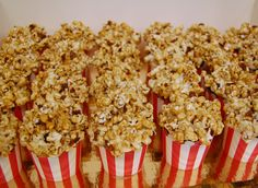 Cupcakes topped with our decadent caramel bacon popcorn! Perfect for a party with a movie or circus theme! (Or a bacon theme!) #popcorncupcakes #circusparty #movieparty #funcupcakes #bacon #sweetlifeeugene