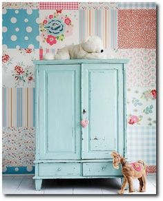 Blue Painted Cabinet With Square Wallpaper Painted Furniture, Painted Cabinets, Vintage Furniture Makeovers,
