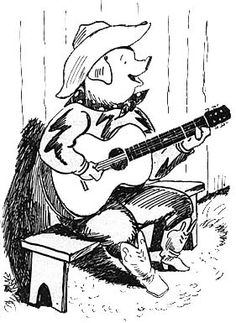 One of Freddy the Pig's many guises: Freddy the Cowboy, by the amazing illustrator Kurt Weiss.