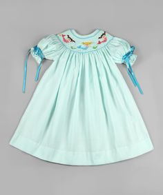 Love this Aqua Mermaid Smocked Bishop Dress - Infant & Toddler by Classy Couture on #zulily! #zulilyfinds