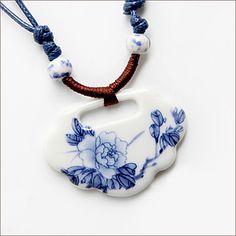 Vintage Handmade Woven Peony Ceramic Necklace(Pendant:3.5*5CM) – USD $ 9.99