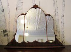 Antique Art Deco Triptych Vanity Mirror by DeerStopVintageHome, $295.00