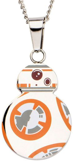 FINE JEWELRY Star Wars Stainless Steel Episode VII BB-8 Droid Cutout Pendant Necklace
