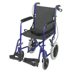 Briggs Healthcare Lightweight Aluminum Transport Chair with 12'' Rear Wheels
