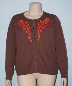 Bob Mackie NWT 3x Brown Art Deco Vine Embroidered L/S Button Front Cardigan Top #BobMackie #Cardigan