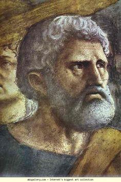 Masaccio. Rendering of the Tribute Money  (detail).  MASACCIO, soprannome di Tommaso di ser Giovanni di Mone Cassai (Castel San Giovanni in Altura, 21 dicembre 1401 – Roma, estate 1428)   #TuscanyAgriturismoGiratola