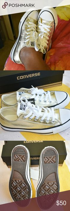 🆕Converse in Light Gold Converse in Light Gold: 1. Women's Size 7.5 2. Men's Size 5.5  New with original packaging.  I actually bought two sizes. One in size 7 and the other in 7.5, which is what I am selling. I am actually a size 8, but I wear size 7 to 7.5 in converses. Converse does fit large, so I always get one size down.  If you have any questions, please feel free to contact me❓ Converse Shoes Sneakers