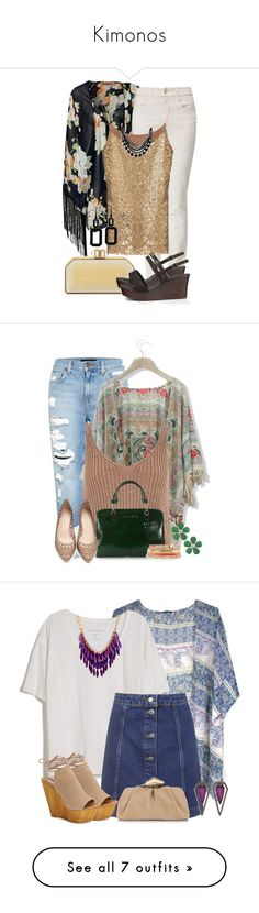 """Kimonos"" by jodilambdin ❤ liked on Polyvore featuring Reverse, Armani Jeans, Judith Leiber, UGG Australia, Rebecca, Genetic Denim, Chicwish, River Island, Loeffler Randall and White House Black Market"