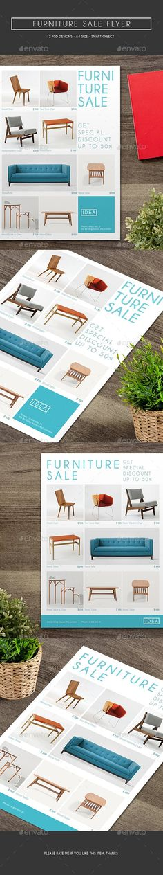 Furniture Sale Flyer, can be used for your furniture store, especially for special event like year end sale and many mor, it looks very clean and simple. File Features : 2 PSD Designs Size In) In Bleed area CMYK / 300 dpi Smart Objec Leather Living Room Furniture, Trendy Furniture, Furniture Sale, Furniture Plans, Ikea Furniture Makeover, Diy Furniture Projects, Diy Projects With Old Doors, Sale Flyer, Flyer Design