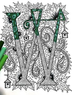 "Letter W Zentangle - Inspired by the font ""Penelope"""
