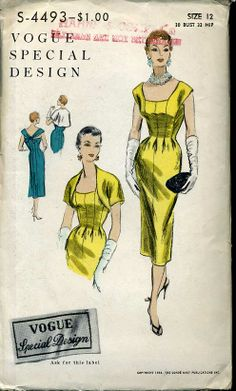 Vogue Special Design- c.1954- One piece dress and bolero. Sleeveless fitted dress, non seam at waist-line. Darts from the low neck-line in front, released at waist-line. Draped bands in back join front bodice extensions at the shoulder, and tie at the low neck-line. Gored, bell-shaped panels at centre-back. Colarless bolero with cufaway fronts and short kimono sleeves.