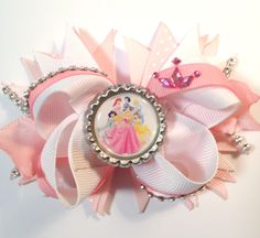 Disney Princesses Bow/Disney Inspired Pink and White Girls Hair Bow/Pink White Bow/Princess Crown Hair Bow/Girly Curl Bow/Stacked Spiked Bow by GirlyCurlBowtique on Etsy https://www.etsy.com/listing/262776629/disney-princesses-bowdisney-inspired