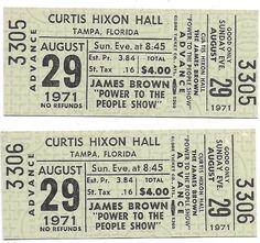 James Brown Concert Ticket Piece Of Music, Power To The People, James Brown, Concert Tickets, The Fool, The Originals