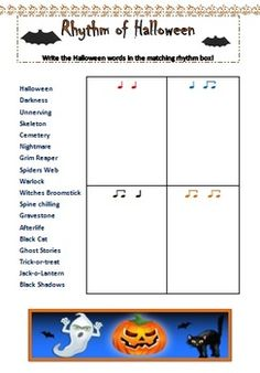 FREE two page download. 1. Student activity sheet - students are to match the halloween words with the correct rhythm 2. Answer sheet
