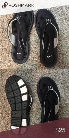 Nike Flip Flops Gently used (worn twice for less than 10 min) very comfortable Nike slip ons! I never wear open toed shoes, but if you do then these are highly recommended! Super comfortable Nike Shoes Sandals