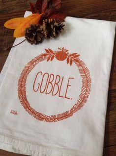 Tea Towel - Thanksgiving Gobble Wreath Flour Sack Screen Printed Minimalist Pumpkin Rust Orange Autumn Fall Holiday by KitchStudios on Etsy https://www.etsy.com/listing/205564887/tea-towel-thanksgiving-gobble-wreath