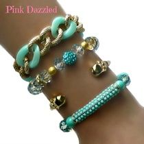 Mint Pearl and Crystal Arm Candy Set