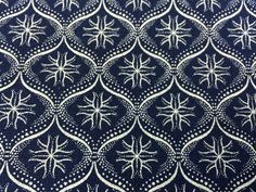 "Da Gama ""Three Cats"" Shweshwe Fabric--Made in South Africa--Indigo Persian Stars--South African Shweshwe Fabric by the HALF YARD"
