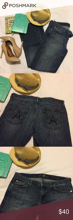 🎀 7 For All Mankind Bootcut Blue Jeans Fun and Simple 7 For All Mankind Jeans. Great, soft and comfortable fabric. Front and Back pockets. Lightly faded wash. Great, Pre-Loved condition ❣🔶Reasonable Offers Welcomed!!🔶 🔷Bundle to Save!!🔷 7 For All Mankind Jeans Boot Cut