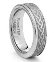 6mm Tungsten Carbide Silver Celtic Knot Wedding Band Ring Available Sizes H - V from TWG