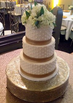 Swiss Dot and Gold Band Cake