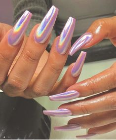 Holographic nails are one of the fastest growing fashion trends in recent years. They're shining, colorful, and beautiful! Holographic color has become one of the most popular colors. Today, we have collected 49 trendy holographic nails designs, Best Acrylic Nails, Acrylic Nail Designs, Holographic Nails Acrylic, Chrome Nails Designs, Acrylic Nails For Summer Coffin, Plain Acrylic Nails, Aycrlic Nails, Hair And Nails, Shellac Manicure