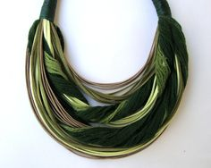 Statement  Fiber  Necklace in Shades of Green  by superlittlecute, $43.00