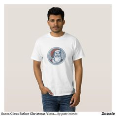 Men's Christmas t-shirt showing a handmade style illustration of Santa Claus facing front vintage style set inside circle. Father Christmas, Retro Christmas, Mens Christmas T Shirts, Diy Stuffed Animals, Vintage Fashion, Vintage Style, Shirt Style, Fitness Models, Shirt Designs